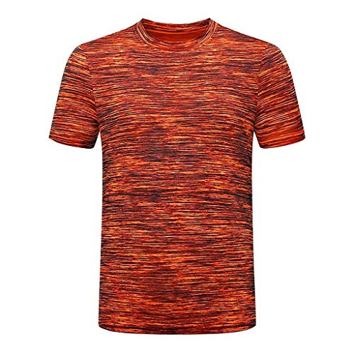 Mannen korte mouwen Tops Summer Casual Pure Color O Neck Elastic T-shirt Blouse Sport Running Training Kleding Loose Fit Fast Dry ademend Comfortabele (Color : Orange, Size : 5XL)