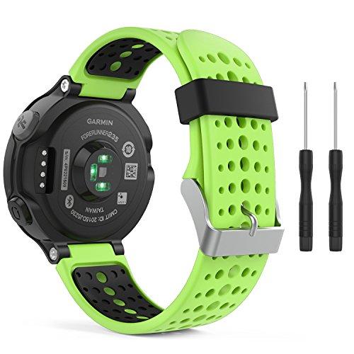 MoKo Garmin Forerunner 235 Watch Band, Soft Silicone Replacement Watch Band for Garmin Forerunner 235/235 Lite / 220/230 / 620/630 / 735XT - Green & Black