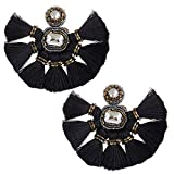 Large Black Fringe Tassel Earrings For Women Fashion Statement Bohemian Big Denim Handmade Beaded Tassel Earrings Fanned Round Hanging Wedding Boho Fan Fringe Tassel Earrings For Girls Gifts