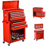 High Capacity 8-Drawer Tool Chest &Tool Box Tool Cabinet with Wheels and Drawers Detachable Organizer Tool Chest Combo,Mobile Lockable Toolbox for Workshop Garage Mechanics (8 Drawers-RED)