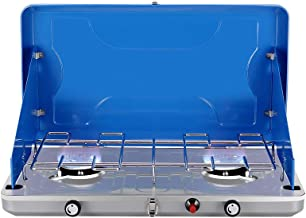 Camplux Gas Camping Stove, JK-6320 Auto-Ignition Propane Stove, 2 Burner Propane Stove with Propane Regulator, Total 20,000 BTU