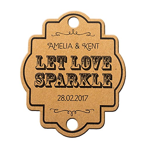 Summer-Ray 48 Personalized Kraft Vintage Wedding Sparkler Tags Let Love Sparkle