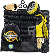 J&B XpandaHose 75ft Expandable Garden Hose with Holder - Heavy Duty Superior Strength 3750D - 4-Layers Latex Core - Extra Strong Brass Connectors and Free 10 Spray Nozzle with Storage Bag (Black, 75)