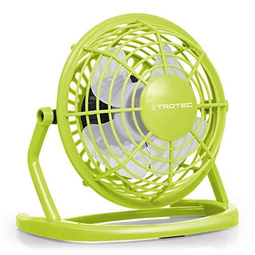 TROTEC TVE 1L Mini USB Ventilator/Fan/Lüfter Lemon Green, geräuscharm mit An/Aus-Schalter, 360° Neigungswinkel