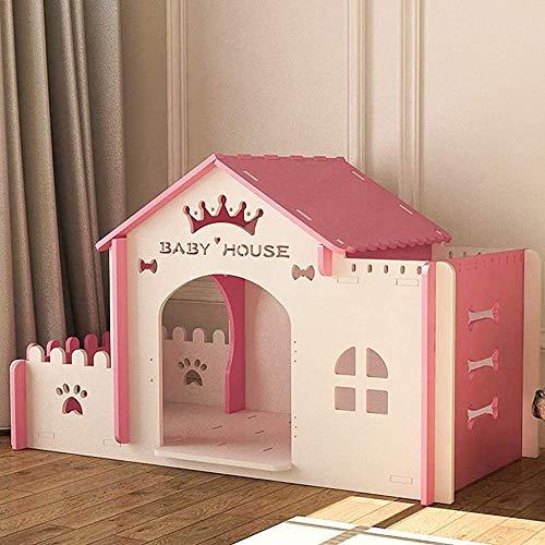 Hölzerne Katze Häuser Außen Holz Raum Landschaft Terrasse Wind Und Regen Roher Hund Welpen Garten Kratzer Hund Sockel Streifen Box (Farbe: weiß),Pink