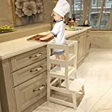 WOOD CITY Kitchen Stool Helper for Kids with Non-Slip Mat, Toddler Stool Tower for Learning, Wooden Toddler Stepping Stool for Counter & Bathroom Sink White