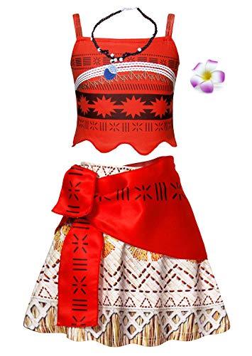 Jurebecia Moana Vestido para niños niñas Vestidos sin Mangas con Collar y Flor cumpleaños Trajes de Fiesta Conjunto