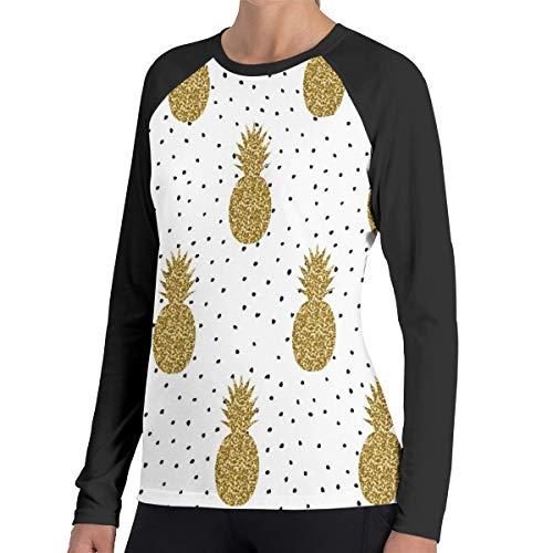 Ananassen in goud op zwarte en witte stippen vrouwen Raglan zachte kleur blok Baseball lange mouwen Pullover Tuniek Top T-Shirts klassieke blouses Top Tee