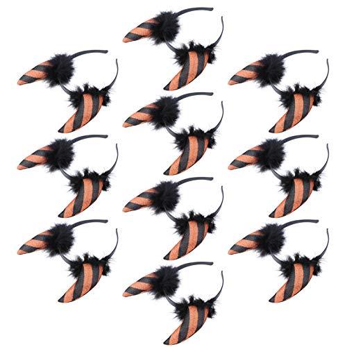 Minkissy 10 Unids Diadema de Cuernos de Diablo de Halloween Pluma de Piel Sintética de Halloween Cuerno de Buey Diadema Disfraz de Diablo Aro de Pelo Gótico Tocado para Fiesta de Cosplay