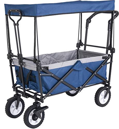 GOJOOASIS Bollerwagen mit Dach Transportwagen Ausziehbarer Griff Handwagen Transportkarre Faltbar Gartenwagen Gerätewagen 361°Drehbar (Blau)