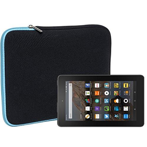 Slabo Tablet Tasche Schutzhülle für Amazon Fire-Tablet/Fire 7-Tablet Hülle Etui Case Phablet aus Neopren – TÜRKIS/SCHWARZ