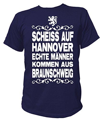 Artdiktat Herren T-Shirt Scheiß auf Hannover - Echte Männer kommen aus Braunschweig Größe XL, Navy