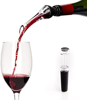 Fast O Vacuum Wine Aerator Pourer, Spout, Elegant Dispenser, Gift Set Accessories for Wine Lovers with Mini Pump & Storage Bag Included