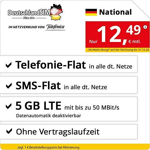Handyvertrag DeutschlandSIM LTE 5000 National - ohne Vertragslaufzeit (5 GB LTE mit max. 50 MBit/s inkl. deaktivierbarer Datenautomatik, Telefonie-Flat, SMS-Flat, 12,49 Euro/Monat)