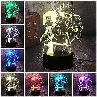 Figura de anime Naruto Group Uzumaki Naruto 3D Ilusión óptica Luz de noche 7 colores Lámpara de escritorio Hatake Kakashi Uchiha