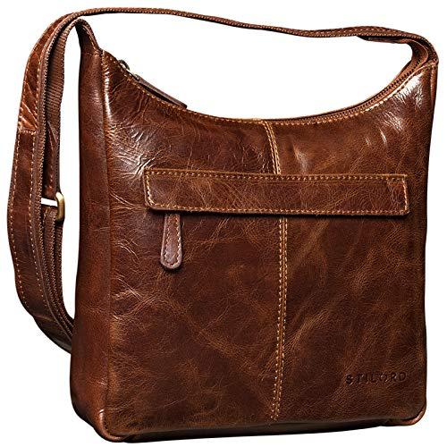 STILORD kleine Lederhandtasche Umhängetasche Vintage Handtasche mit verstellbarem Schulterriemen aus weichem Antik Leder Damen, Farbe:antik - braun