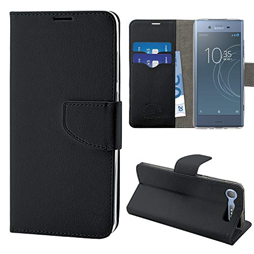 N Newtop Funda compatible para Sony Xperia XZ1, HQ Lateral Funda Libro Flip Cierre Magnético Billetera Simil Cuero Stand (Negro)