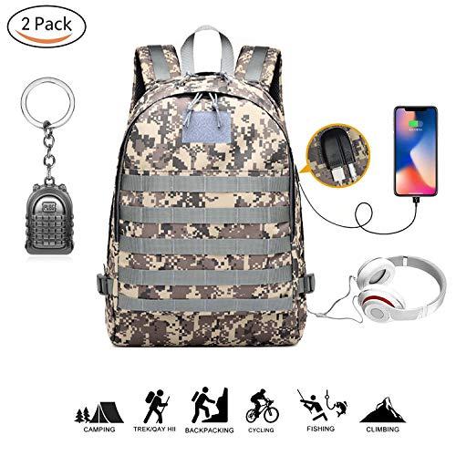 Tomoo Pubg Level 3 35L Sac à dos tactique militaire MOLLE Sac étanche équipement pour activités d'extérieur pour la chasse, le camping, trekking avec chargement USB, Gray lines