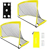 Sportout Portable Soccer Goal, Training Soccer Net for Backyard, Garden, Indoor, Outdoor, Training, Practice Goals, 6'3'x 3'7' (2 Pack)