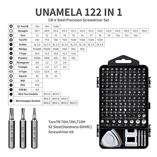 122 in 1 Professional Laptop Repair Screwdriver Set, Precision PC, Computer Repair Kit, with 101 Magnetic Bit and 21 Practical Repair Tools, Suitable for MacBook, Tablet, PS4, Xbox Controller Repair