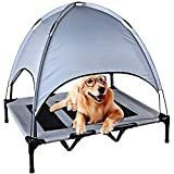 REDCAMP Elevated Dog Bed with Canopy Waterproof, Sturdy Breathable Textilene Mesh Pet Cots for Dogs Outdoor Indoor, Extra Large