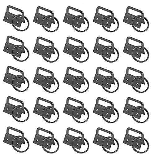 YXHZVON 30 Piezas Pulsera de Hardware con Llavero, 25 mm Cierre de Abrazadera en Blanco Metal con Llavero para Tela de Cordón Hecha a Mano de Bricolaje (Negro)