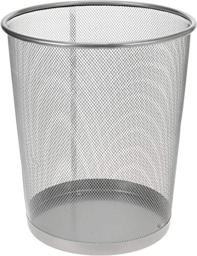 Papierkorb Metall 35 cm silber hoch Papiereimer fürs Büro Abfalleimer Runder Mülleimer 20 Liter, Draht, 30 cm Ø oben