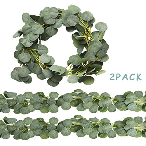 Trimgrace 2 Pack 6.5 Feet Artificial Silver Dollar Eucalyptus Leaves Garland 164 Pcs Leaves Garland Greenery for Wedding Party Home Backdrop Table Runner in Grey Green
