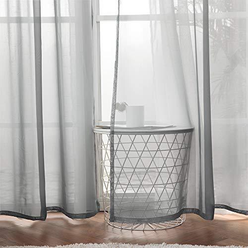 MIULEE 2 Pizasas Cortinas Poliéster Ojales Cortina Translucida de Dormitorio Moderno Ventana Visillos Salon para Sala Cuarto Dormitorio Comedor Salon Cocina Salón 140 x 160 cm Gris Oscuro