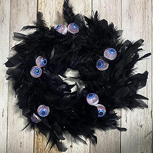 AFRWED Nuevo Colgante De Puerta De Plumas De Halloween 30 * 30 * 5 CM Decoración De Corona De Plumas Negras