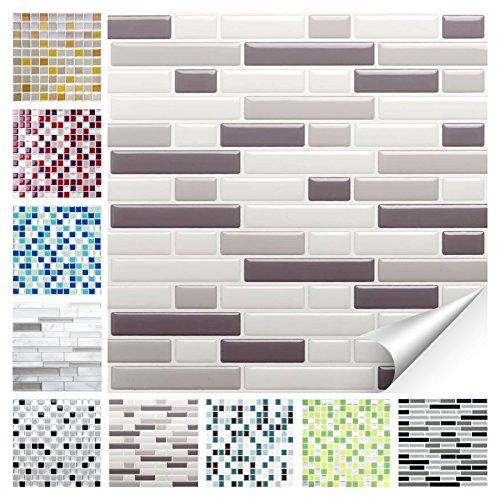 Wandora 1 Set Fliesenaufkleber 28,6 x 25,3 cm Verschiedene Grautöne Ziegel Design 24 I 3D Mosaik Fliesenfolie Küche Bad Aufkleber W1536