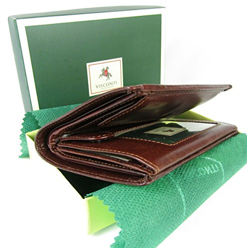 New Visconti Monza top of The Range Multi Pocket Italian Leather Mens Wallet Money Bag Style MZ3 (Brown)