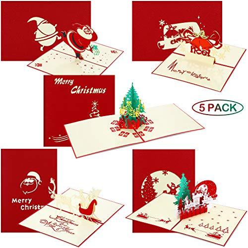 5 Pezzi 3D Pop Up Biglietti Di Natale Biglietto Di Auguri Di Natale Con Buste Cartoline Di Vacanza Per Capodanno Compleanno Regali Fatti A Mano, 5 Stili