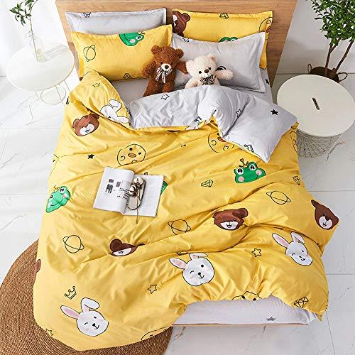 Anvvsovs Bedding set Double size Yellow cartoon pattern Print Bedding set Duvet Cover + Pillowcase Boy, Girl, Children's Gift 200 x 200 cm -Children's bedding