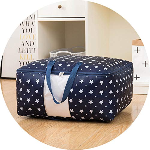 I'll NEVER BE HER High Quailty Clothes Storage Bag Waterproof Portable Closet Organizer Collapsible Quilt Container Oxford Home Storage Organizer,XXL About70X50X30Cm,Blue Star