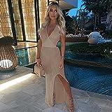 BLUSEZHUBA Vestidos De Fiesta Vestir Dress Mujer Niña Cuello En V Halter con Cordones Perspectiva Crochet Beach Suspender Falda Larga Vestido-Camel_S