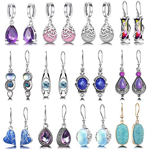 12 Pairs Teardrop Druse Crystal Drop Dangle Earrings for Women Girls Cubic Zirconia Huggie Hoop Earring Jewelry Set Christmas Gifts