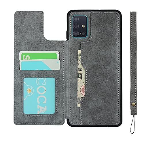 EYZUTAK Brieftasche mit Kartenhalter für Samsung Galaxy S20 FE 5G, Premium PU Leder Flip Hülle mit Druckknopf, Schützende Stoßstange[Stoßfest] Rückseite Flip Cover mit Lanyard Card Pocket-Grau