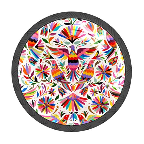 FCZ 4 pomos de cajón de faisán mexicano, con forma de círculo, de cristal, con tornillos, para el hogar, la cocina, la oficina