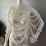 Cadena de hombro Chal Collar de perlas para mujer, pasarela, escenario, vestido de novia hecho a mano con cuentas de cadena de cuerpo (color metálico: blanco)