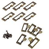 12 piezas Cajón Arcón Armario Label Pull Cabinet Frame Handle File Name Tarjetero 57mm x 45mm con Tornillos
