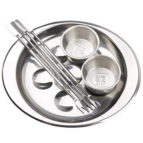 Snail Escargot Plate Set Stainless Steel Thickend Dishes with 6 Compartment Holes Tong Sauce Cups Forks Set for Home Restaurant Hotel (Silver)