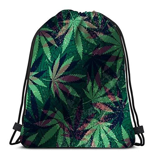 Unisex Drawstring Bags,Hemp Leaves And Ethnic Ornament Sport Gym Bag Casual Sackpack Backpack Men & Women Drawstring Backpack For School Running Traveling