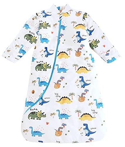 Chilsuessy Baby Schlafsack Winter, Abnehmbare Ärmel, warm gefüttert 3.5 Tog Winter Schlafsäcke Jungen Mädchen Schlafsack für Kleinkinder von 6 Monaten bis 6 Jahre, Dinosaurier Welt, M (75-90 cm)