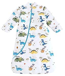 Chilsuessy Saco de dormir de invierno para bebé, mangas extraíbles, forro cálido, 3,5 tog, saco de dormir para niños pequeños de 6 meses a 6 años, diseño de dinosaurios, talla L (90-105 cm)