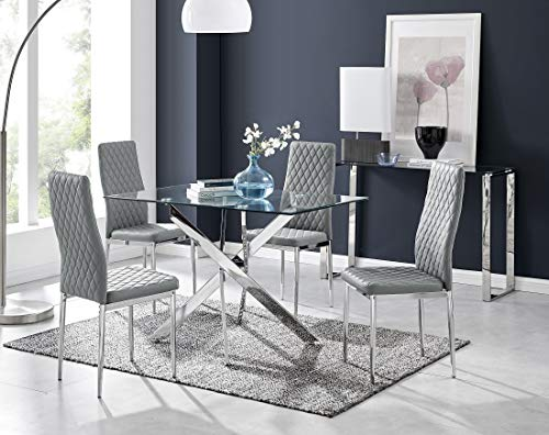 Furniturebox UK Leonardo 4 Clear Glass And Chrome Metal Modern Stylish Dining Table And 4 Stylish Milan Dining Chairs Set (Dining Table + 4 Elephant Grey Milan Chairs)