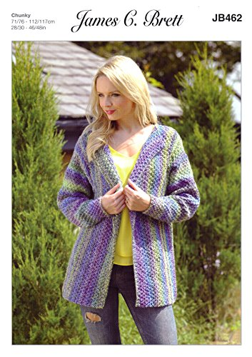 James Brett Womens Knitting Pattern Ladies Marble Chunky Long Sleeved Jacket (JB462)