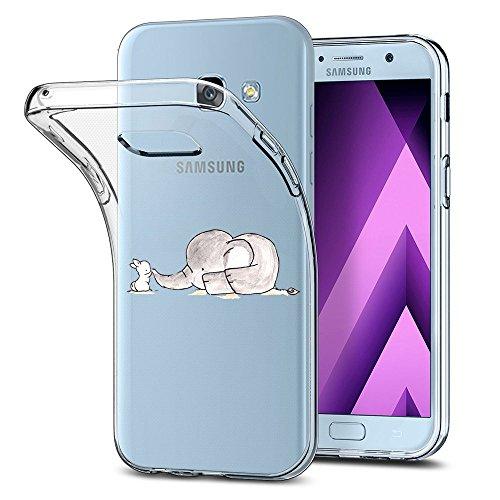 Galaxy A3 2017 Cover trasparente Galaxy A3 2017 Cover Silicone panda coniglio pinguino Elefante Morbida Sottile TPU Cover silicone Bumper Morbida Clear Custodia per Samsung Galaxy A3 2017 (Elefante)