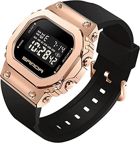 ZFAYFMA Relojes de Moda para Mujer, Relojes Digitales, Diales Cuadrados para Hombres, Deportes Unisex, Ocio, Relojes de Lujo electrónico, Relojes de Ropa Deportiva, Impermea Pink