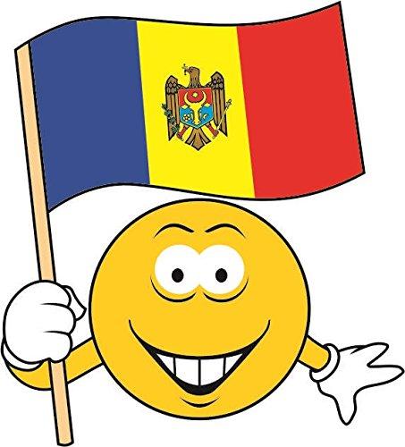 U24 Aufkleber Smily Moldawien Fahne Flagge Autoaufkleber Sticker Konturschnitt